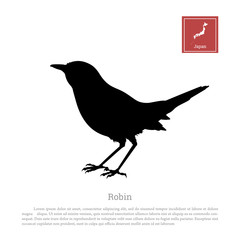 Black silhouette of a japanese robin on white background. Erithacus rubecula. Animals of Japan