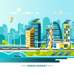 Green energy and eco friendly city. Solar and wind power. Urban landscape with modern houses and city transport. Vector illustration.