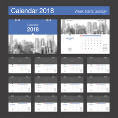2018 Calendar. Desk Calendar modern design template with place for photo. Week starts Sunday. A5 or A4 paper size.