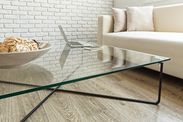 modern glass table in the loft interior Wall mural
