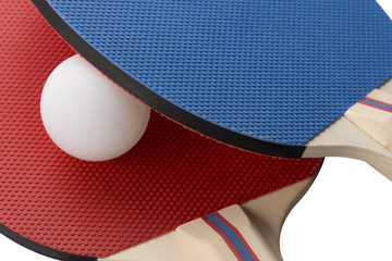 Red and Blue Ping Pong Paddles - Closeup, Blue on top of Red