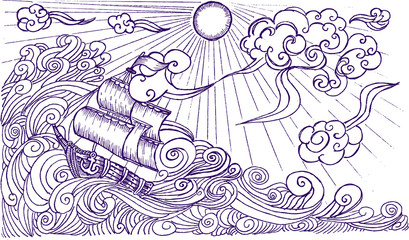 sketch, sailboat