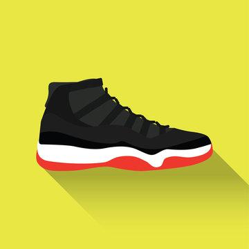 Nike - Air Jordan 12. Vector stock illustration. Sport wear for men and women. Flat design. Vector illustration.