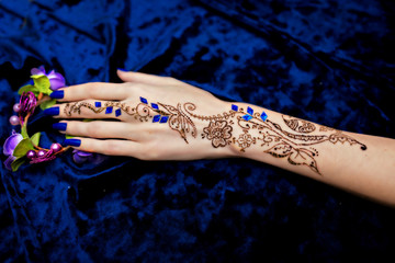 Mehendi Picture on Woman Hand