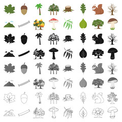 Forest set icons in cartoon style. Big collection of forest vector symbol stock illustration