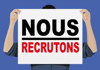 Recrutement - emploi - affiche - pancarte - publicité - recruter - embauche - entreprise
