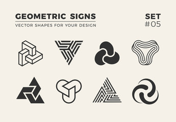 Set of eight minimalistic shapes. Stylish vector logo emblems for Your design. Simple creative geometric signs collection. Wall mural
