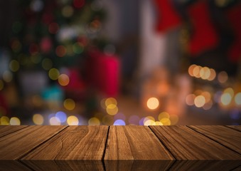 Wooden floor with Christmas theme background
