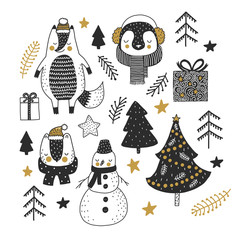 Vector christmas set with animals and christmas tree, gifts and branches. Hand drawn illustration.