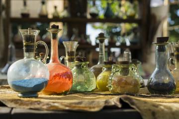 Vintage glass vials and bottles alchemy