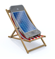 smartphone with solar panel on screen