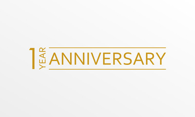 1 year anniversary emblem. Anniversary icon or label. 1 year celebration and congratulation design element. Vector illustration.