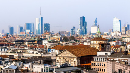 Skyline of Milan, in Italy