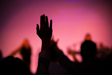 praise hand up in church