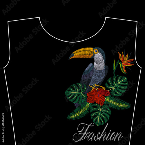 embroidery toucan with tropical flowers fashion word vector