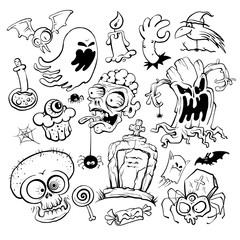 Hand drawn halloween graphic symbols ink collection