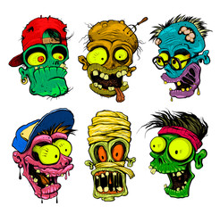 Zombie, vampire, mummy heads illustration