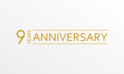 9 year anniversary emblem. Anniversary icon or label. 9 year celebration and congratulation design element. Vector illustration.