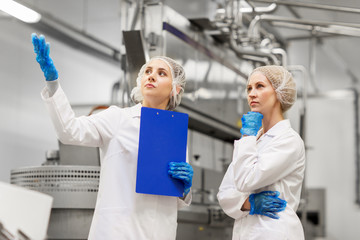 women technologists at ice cream factory