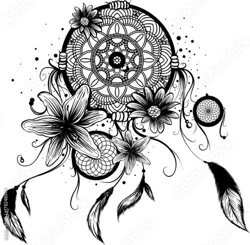 Texture fiori bianco e nero good archivio fotografico for Acchiappasogni disegno