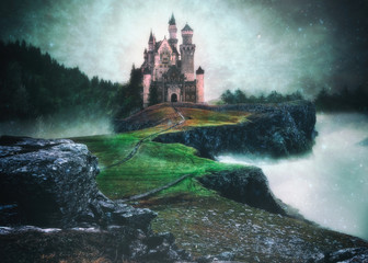 A photo manipulation of a castle above the clouds in a magical setting