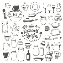 Vector Set of Doodle Contours of Various Dishes, Glasses, Pots and other Kitchen Utensils