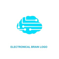 Brain tech logo, digital brain vector.