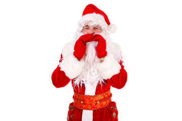 Santa Claus Portrait shouting or calling Isolated on White Background. Xmas Concept