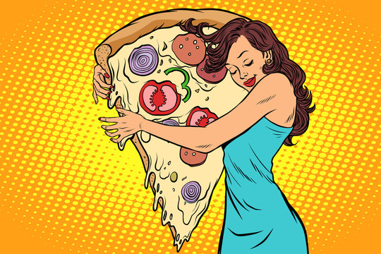 woman hugging a pizza