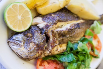 Grilled sea bream with poatatoes, tomatoes and lemon