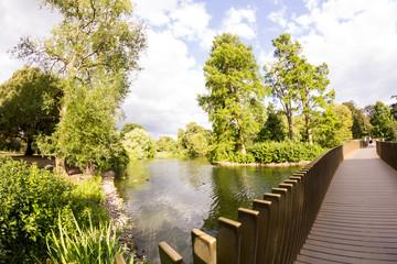 View from Kew Gardens, Royal Botanical Gardens in London. Fish eye lens effects