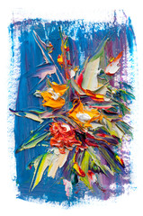 Fotobehang Paradijsvogel Oil painting flowers