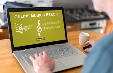 Online music lesson concept on a laptop