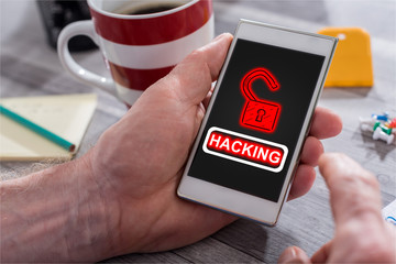 Hacking concept on a smartphone