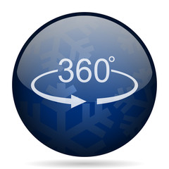 Panorama 360 blue winter christmas design web icon. Round button for internet and mobile phone application designers.