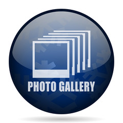 Photo gallery blue winter christmas design web icon. Round button for internet and mobile phone application designers.