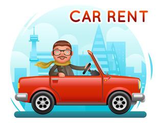 Rent Car businessman male riding on car flat design cartoon character city background vector illustration
