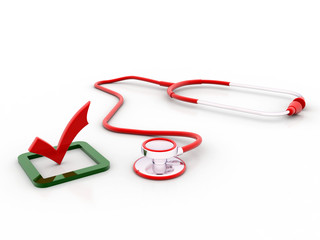 3d illustration of healthcare concept with red check mark and and red stethoscope