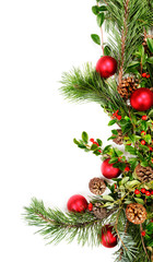 Northwest native foliage garland with red ornaments,