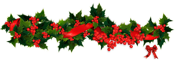 Holly, berry and ribbon Christmas garland