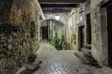 Narrow cobbled street with flowers in the old village Tourrettes-sur-Loup at night, France.