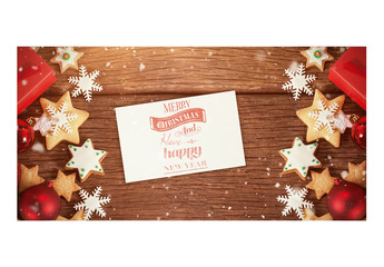 Card with Christmas Cookies on Wooden Table Mockup