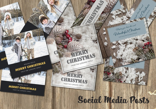 Set of Christmas Social Post Layouts 5