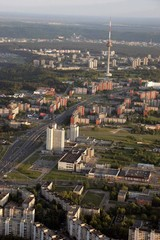 Vilnius TV tower, Lithuania picture taken from air baloon