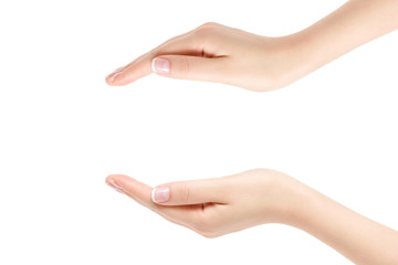 Empty female hands on white background.