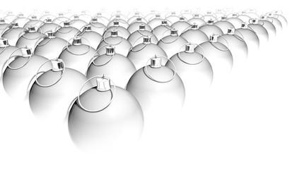 christmas baubles white, 3D Illustration