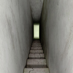 scaring stairway down into unknown, 3D Illustration