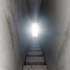 stairway up into light, 3D Illustration