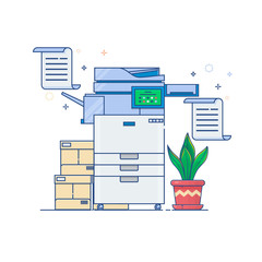 Office Multi-function Printer scanner.Flat thin line style vector icon.