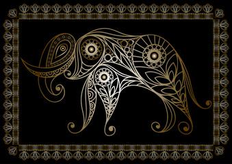 Lace illustration with elephant gold
